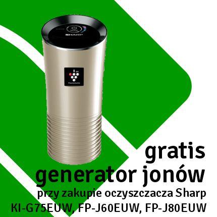 przy zakupie oczyszczacza KI-G75EUW, FP-J60EUW lub FP-J80EUW otrzymasz za darmo przenośny generator jonów Plasmacluster