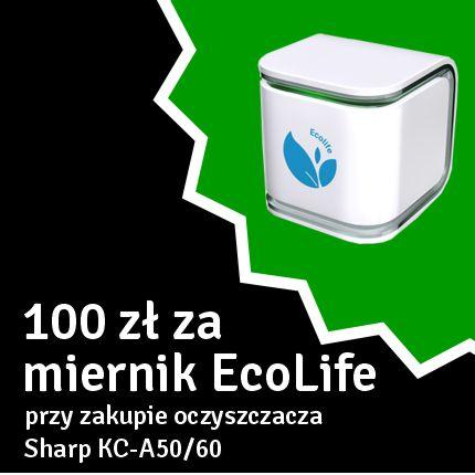 przy zakupie oczyszczacza z serii KC-A50/60 otrzymasz możliwość zakupu miernika jakości powietrza EcoLife w cenie 100 zł