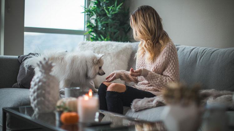 Kobieta z psem siedzi w domu na kanapie